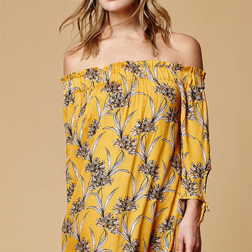 MinkPink Sri Lanka Off-The-Shoulder Dress at PacSun.com