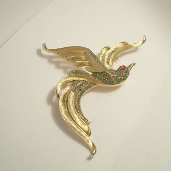 Vintage Crown Trifari Bird Brooch,Trifari Rhinestone Bird Brooch,Trifari Philippe Brooch,Trifari Bird of Paradise Brooch,Rhinestone Bird Pin