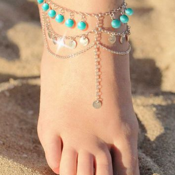 Handmade beaded restoring ancient ways Multilayer sequins tassel Anklet(Gold)