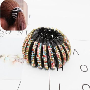 New crystal Bird Nest Ponytail Holder fair crab claw clip Hairpin Rhinestone for Women Girls Accessories Barrettes Headwear