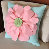 Daisy Felt Flower on Aqua Pillow NEW BEDBUGGS DESIGN by bedbuggs