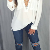 Cross Straps V-Neck White Chiffon Shirt