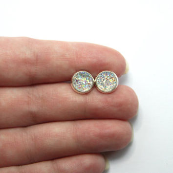 NEW - SMALL Clear Rainbow Chunky Faux Druzy Earrings - Posts/Studs 8mm SMALL