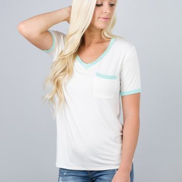 Color Contrast Pocket V-Neck