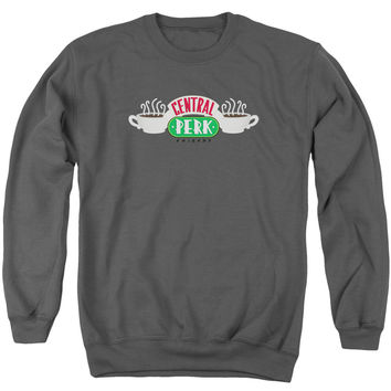 FRIENDS/CENTRAL PERK LOGO-ADULT CREWNECK SWEATSHIRT-CHARCOAL