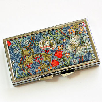 Flower pill case, Pill case, 7 day pill box, Pill Container, 7 sections, 7 day, Pill Box, Venetian Design, Blue, Venetian Print (4529)