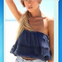Summer Sexy Women Strapless Crop Top Crochet Lace Tube Tops Cropped Shirts Off the Shoulder Blusa de alcinha haut femme