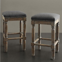 Stylish Set of 2 Counter Stools Grey Upholstery Rustic Wood Home Bar Furniture