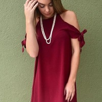Here To Stay Dress - Burgundy