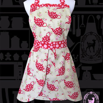 Womens apron retro with red teapot and pink flower rose with polka dots