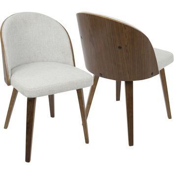 Luna Dining / Accent Chairs with White Noise Fabric, Walnut (Set of 2)