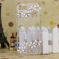 Cute White Flowers Diamond Crystal Clear Bling Skin Case Cover For iPhone 5 5G