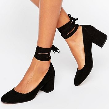 London Rebel Tie Ankle Mid Heel Shoe at asos.com