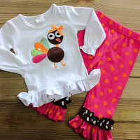 Hot Pink & Orange Polka Dot Turkey Outfit