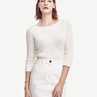 Ribbed 3/4 Sleeve Sweater | Ann Taylor