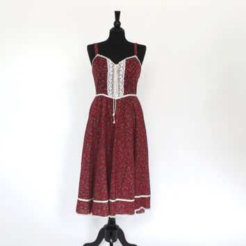 Vintage Gunne Sax Jessica McClintock Dress 1970s Red Floral Cotton Lace Country Summer Sundress Boho Hippie Prairie Folk Festival Bavarian