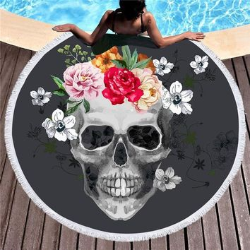 XC USHIO Skull Head Style 150cm Round Beach Towel With Tassel 500G Blanket Swimming Towel Toalla De Playa Bath Towel