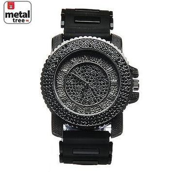 Jewelry Kay style Rapper Hip Hop Black Plated Silicone Band Techno Pave Men's Watches WR 7840 BK