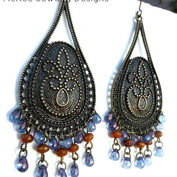 Moroccan evening. Bronze, Czech glass earrings. Teardrop shape dangle jewelry.
