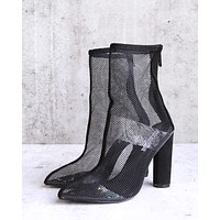 Cape Robbin - other woman pointed toe mesh heel bootie in black
