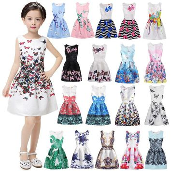 children's girl's summer sleeveless princess dress jacquard weave flowers butterfly printed party vestidos birthday gown dress