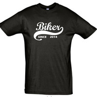 Biker since 2014 (Any Year),gift ideas,gift for boyfriend,gift for him gift for men,humor shirts,humor tees,gift for brother,gift for sister