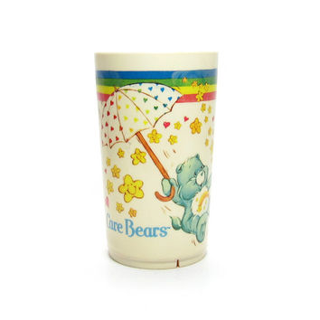 Care Bears Cup Vintage 1980's Plastic Deka Tumbler with Umbrella, Wish, Cheer and Funshine Bear