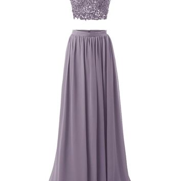 Women's Long Prom Dress Two Pieces Evening Party Dress Illusion With Applique