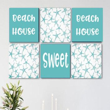Beach House Sweet Beach House Teal and White Wall Art Pack of 6 Canvas Wall Hangings. Dining Room Decor. Kitchen Decor. Dining. Home Decor.