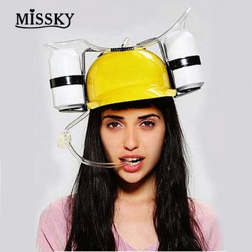 MISSKY Free Shipping Women Men Hands Free Solid Color Drinking Hat Plastic Straw Lazy Party Beer Soda Cap Helmet for World Cup