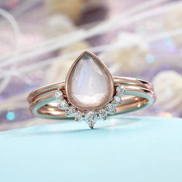 Moonstone Engagement Ring set 14K Rose Gold Diamond Wedding Women Bridal jewelry Vintage Pear Shaped Cut Stacking Tear Drop Alternative
