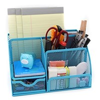 Mesh Desk Organizer 5 Compartment Office Supplies Caddy Pen Holder with Drawer ,Green