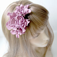 Leather pink flower headband