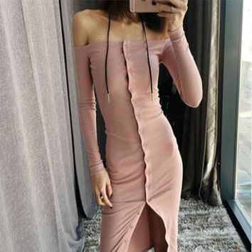 Pink Plain Bandeau Single Breasted Off Shoulder Slim Casual Midi Dress