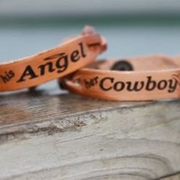 millerleather.com- Hardy, AR.    Home of quality handmade leather goods and accessories...Personalized Free! - Couple's Bracelet Set---(His Angel/Her Cowboy) (Powered by CubeCart)