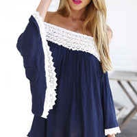 Dark Blue with Crochet Lace Accent Off Shoulder Mini Dress