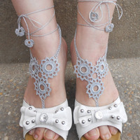 1 Pair, Crochet Barefoot Sandals, Beachwear, Anklets,, Fancy, Eyelets, Grey, Sexy, Yoga, Ballet, Beach, Pool, Vacation