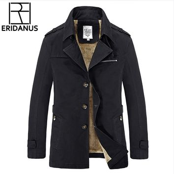 Trendy New Fashion Winter Men Upscale Slim Fit Casual Trench Coat/Male Pure Color Pure 100%Cotton British Style Long Jackets M-5XL X788 AT_94_13
