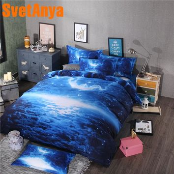 Svetanya Pillowcase+Blanket Cover Bedding Set (no Sheet) Blue 3d Galaxy Bed Linens Twin Full Queen Double Size