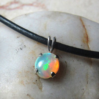 Opal jewelry trending for October ~ Unique gemstone solitare necklace ~ gift ideas for birthday, wedding, Stocking stuffer Christmas present