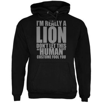 LMFCY8 Halloween Human Lion Costume Black Adult Hoodie