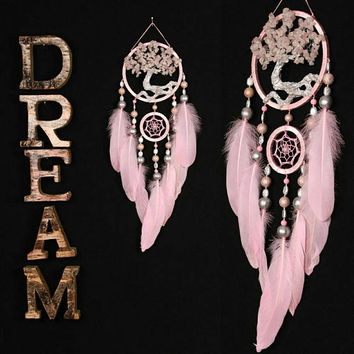 Pink Dream Catcher Tree of life Dreamcatcher pink Dream сatchers pink quartz dreamcatchers decor wall handmade pink unique christmas gift
