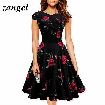 Zangcl Women Retro Dress Vintage Rockabilly Rose Floral Print Ball Gown Party Swing Dresses