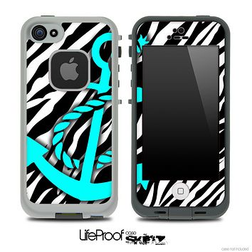 Vector Zebra Animal Print and Turquoise Anchor Skin for the iPhone 5 or 4/4s LifeProof Case