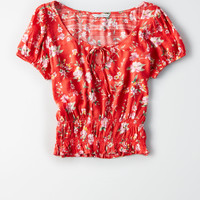 AE Smocked Short Sleeve Top, Red