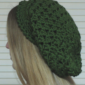 Hand Crocheted Slouchy Hat for Woman and Teen  / Color: Green