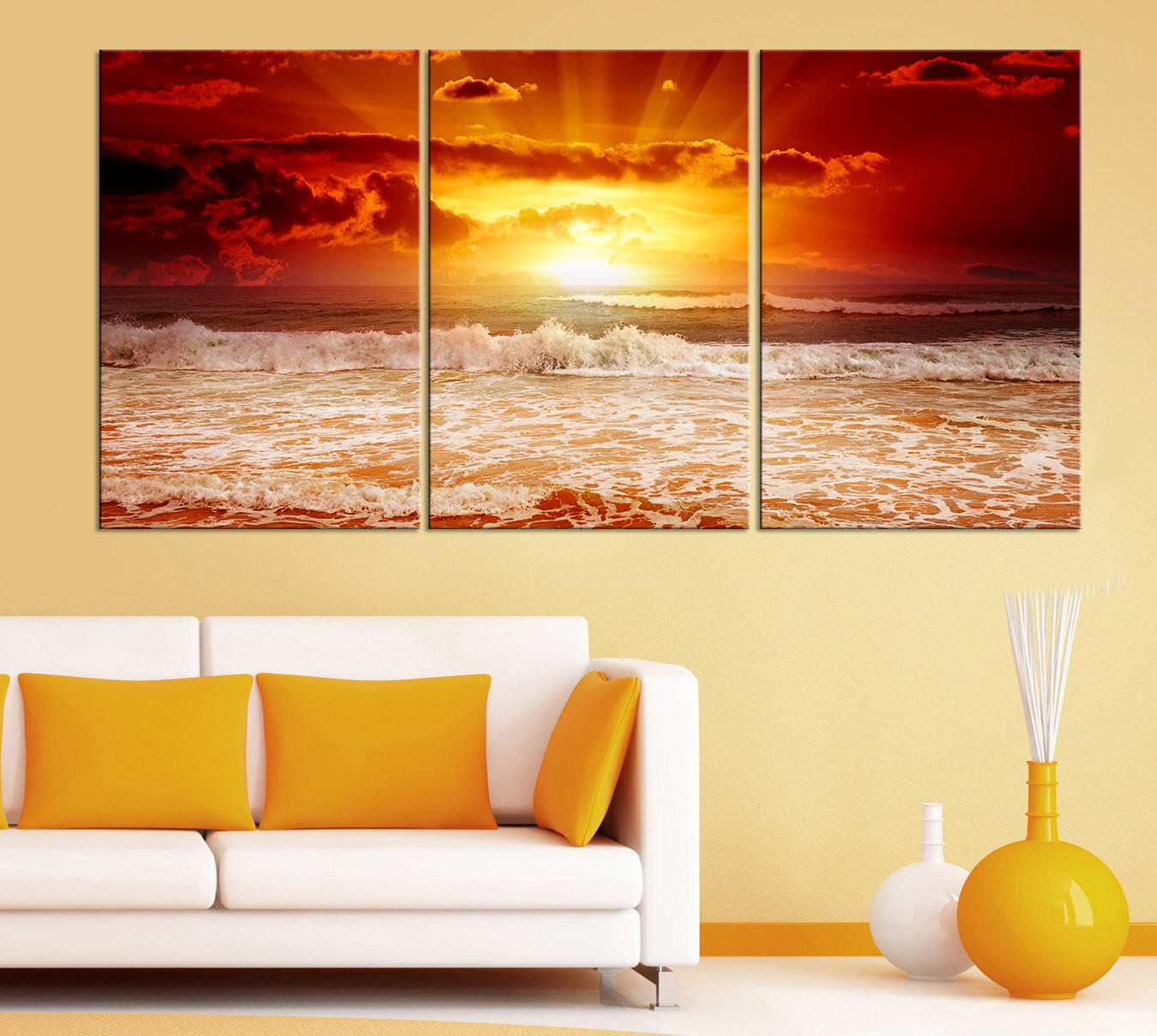 3 Piece Red Sunset on the Sea Canvas ART from MyCanvasPrint