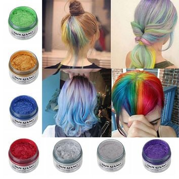 ISHOWTIENDA color hair wax 2017 DIY Hair Clay Wax pastel Mud Dye Cream Grandma Ash Dye Temporary creme para cabelo7 Colors
