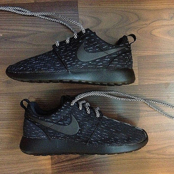 Nike Roshe Mens Black with Custom Yeezy 350 Boost Black Pirate Inspired Design