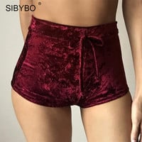 Sibybo Sexy Velvet Women Shorts 2016 6 Colors New Fashion High Waist Lace Up shorts Autumn Winter Mini Skinny Shorts Plus Size